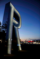 Monica Bonvicini was commissioned to design a flagship artwork for outside the Copper Box. Monica designed three nine-metre tall letters forming the word 'RUN',  CAU_0042