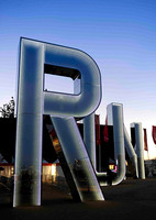 Monica Bonvicini was commissioned to design a flagship artwork for outside the Copper Box. Monica designed three nine-metre tall letters forming the word 'RUN',  CAU_0028
